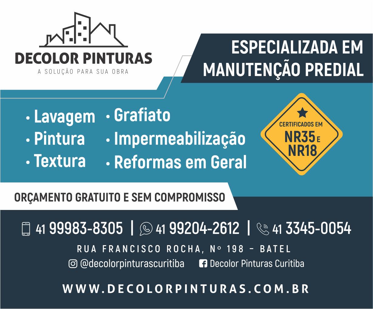 Decolor Pinturas - 99983-8305 / 99204-2612 / 3345-0054