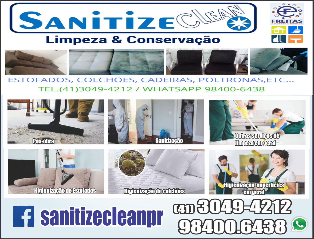 Sanitize Clean Limpeza e Conservação      Fones: (41)3049-4212 / (41) 98400-6438