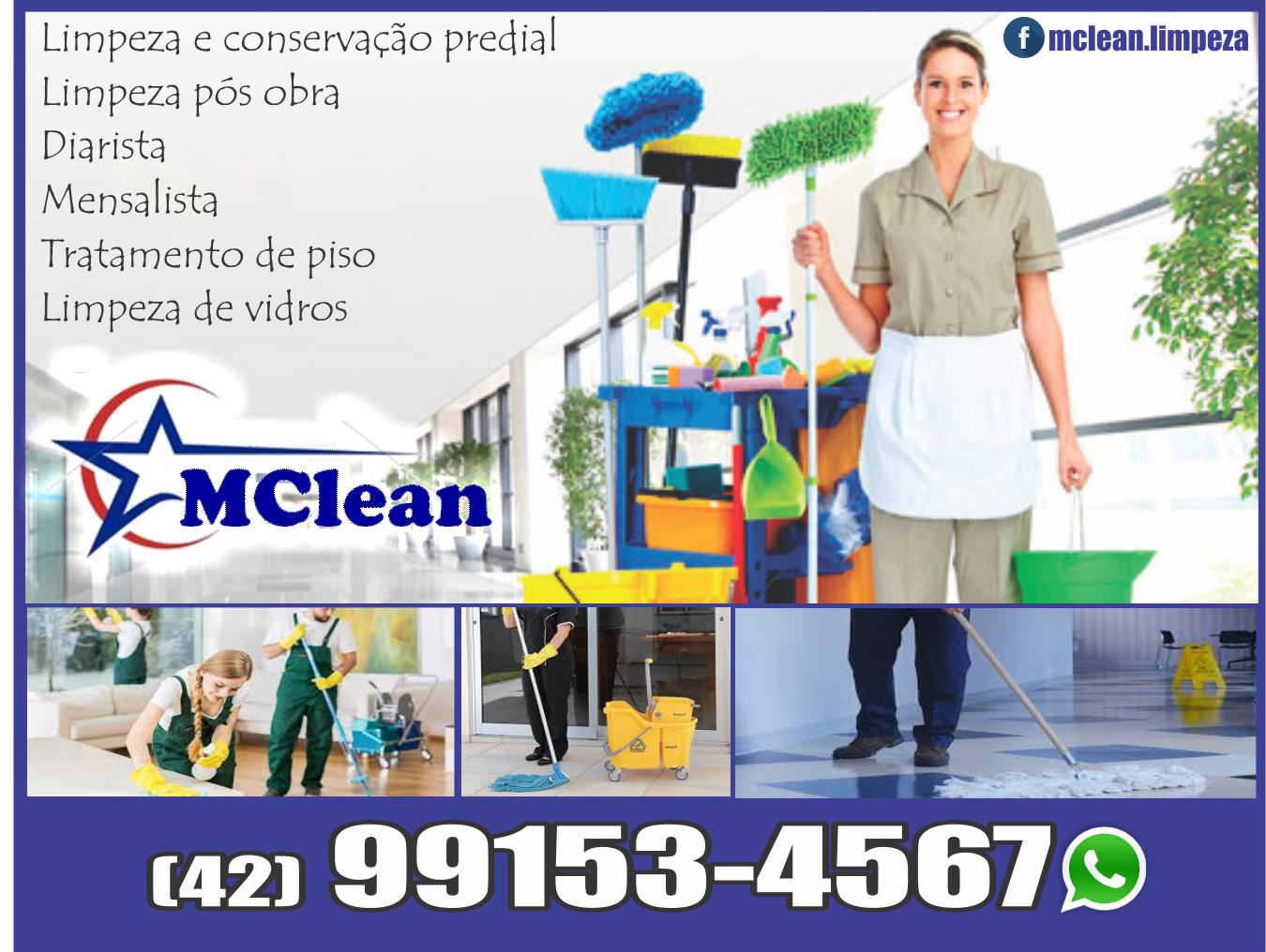 Mclean Limpeza e Conservação      Fones: (42)99153-4567 /