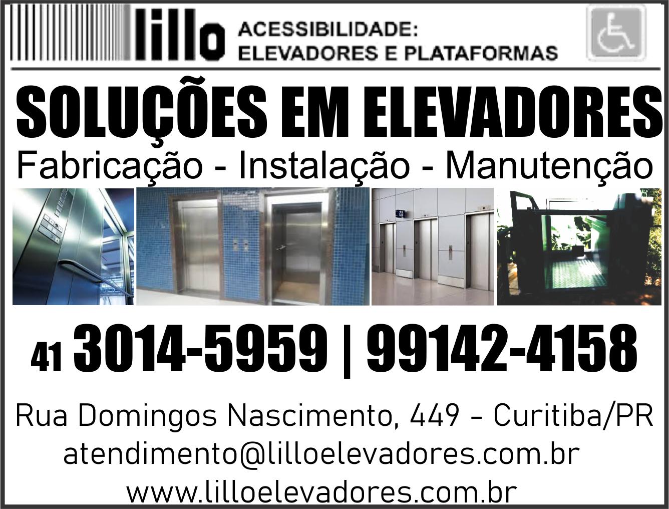 LILLO ELEVADORES EM CURITIBA      RUA DOMINGOS NASCIMENTO, 449, CURITIBA - PR  Fones: (41)3014-5959 / (41) 99142-4158