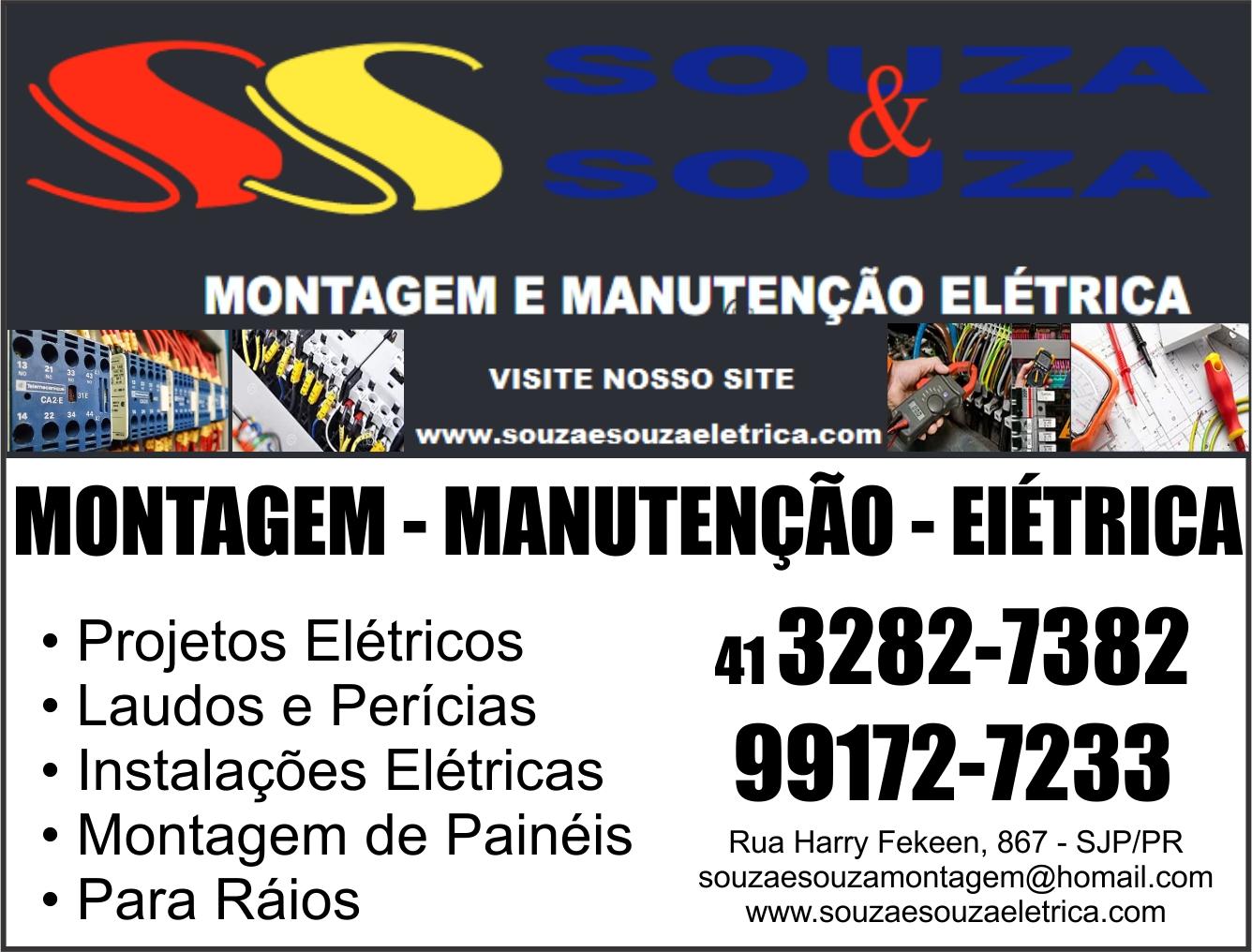 SS Souza & Souza Montagem e Manutenção Elétrica      RUA HARRY FEEKEN, 867, SÃO JOSÉ DOS PINHAIS - PR  Fones: (41) 3282-7382 / (41) 99172-7233