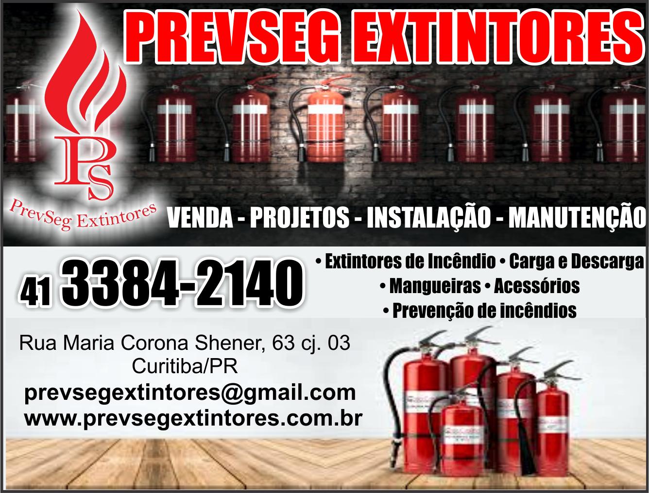 Prevseg Extintores      RUA MARIA CORONA SCHERNER, 63, SÃO JOSÉ DOS PINHAIS - PR  Fones: (41)3384-2140 /